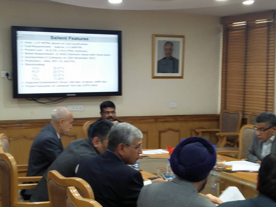 Hon'ble MoS(I/C) PNG Reviewed progress of Talcher gas-based Fertiliser Plant with all stakeholders from Fertiliser & Coal Ministry on 06th Feb'17.