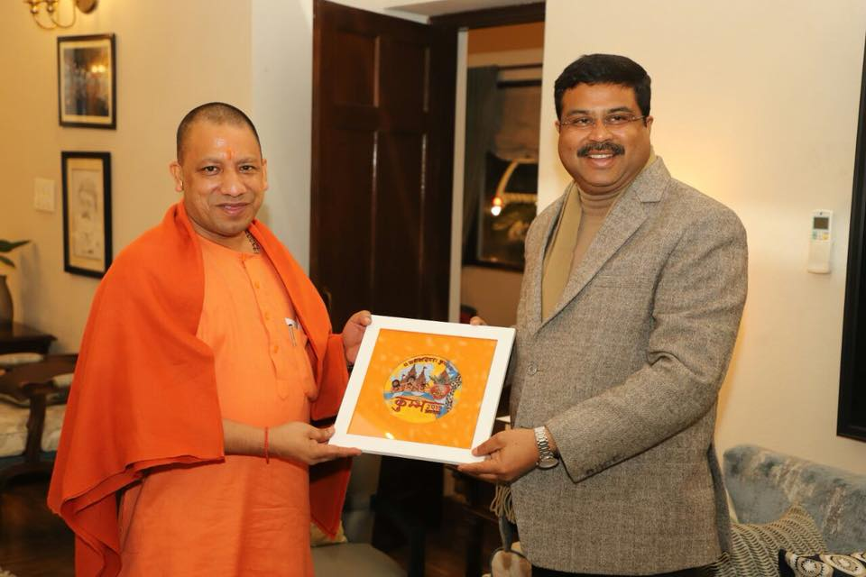 Hon'ble Union Minister of P&NG and SD&E received the Hon'ble CM of U.P. at New Delhi on 10th Feb'18