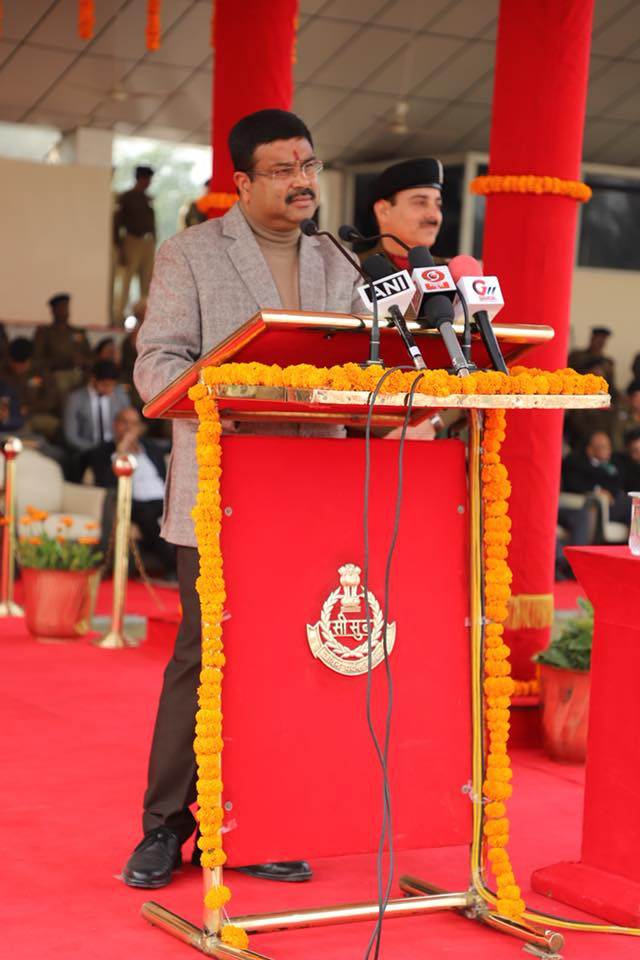 Hon'ble Union Minister of P&NG and SD&E addressing after the inauguration of PNG facility provided by Indraprastha gas Ltd at BSF Camp Chhawla at Delhi on 10th Feb'18