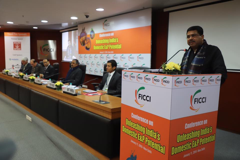 "Union Minister of P&NG and SD&E addressed the Industry leaders at a conference on ""Unleashing India's Domestic E&P Potential"" organised by FICCI at New Delhi on 11th Jan'18"