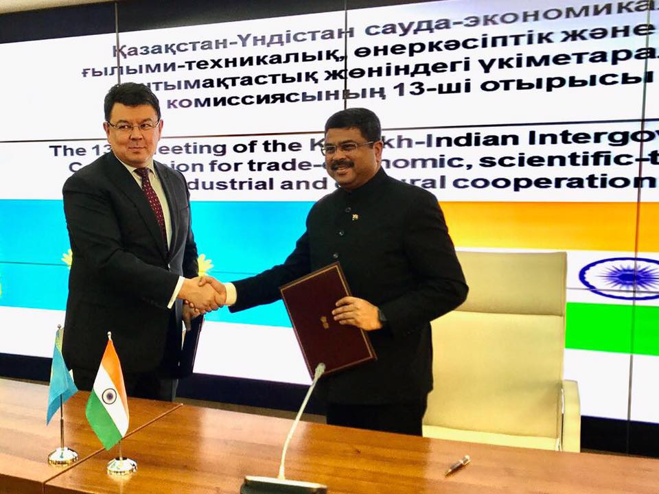 Union Minister of P&NG and SD&E with H.E. Kazakh Energy Minister during the Signing of Inter-Governmental Commission (IGC) Protocol at Astana on 20th Sept'17