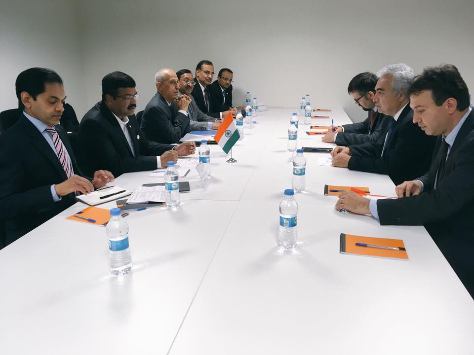 Hon'ble MoS(I/C) PNG Sh Dharmendra Pradhan in a meeting with Fatih Birol, the executive director of International Energy Agency (IEA) on the sidelines of 22nd World Petroleum Congress at Istanbul on 10th Jul'17