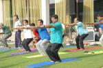 Hon'ble MoS(I/C) PNG at the Yoga Session during Strategy Meet organised by Ministry of Petroleum and Natural Gas at Surajkund, Faridabad on 22nd Aug, 2015.