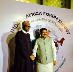 Hon'ble MoS(I/C) PNG receiving President of Nigeria H.E. Mr Buhari at New Delhi on 27th October, 2015 who is visiting India to attend 3rd India-Africa Summit.