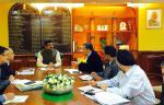 Hon'ble MoS(I/C) PNG discussing with Sh Prem Das Rai, Hon'ble MP from Sikkim ways to smoothen supply of LPG & petroleum products in hilly areas at New Delhi on 19th Nov'15.