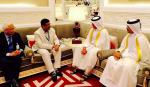 Hon'ble MoS(I/C) PNG in a bilateral discussion with the Prime Minister of Qatar at Qatar on 09th Nov'15.