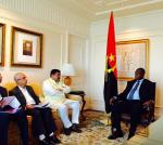 Hon'ble MoS(I/C) PNG in a bilateral meeting with the Hon'ble Vice President of Angola at New Delhi on 30th Oct'15.