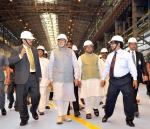 Hon'ble PM along with Hon'ble MoS(I/C) PNG & others at Rourkela Steel Plant (being expanded to 4.5 MT per annum capacity) on 1st Apr'15