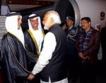 Hon'ble PM and Hon'ble MoS(I/C) PNG receiving the Crown Prince of UAE at New Delhi on 10th Feb'16, who is on a state visit to India.