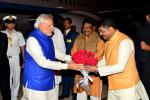 Hon'ble MoS(I/C) PNG welcoming Hon'ble Prime Minister Narendra Modi ji on his arrival at Bhubaneswar.