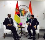Hon'ble MoS(I/C) PNG in a bilateral meeting with the Hon'ble Prime Minister of Mozambique on the sidelines of 3rd Indo-Africa meet at New Delhi on 29th Oct'15