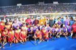Hon'ble MoS(I/C) PNG with the players of PSPB & Rest of India teams during Exhibition Hockey match organized on the occasion of launch of CGD in Bhubaneswar & Cuttack City and  GAIL Bhubaneswar Office inauguration on 19th Mar'17