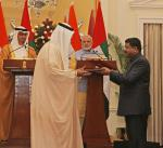 Hon'ble MoS(I/C) PNG Exchanged MoU with UAE in the august presence of Hon'ble PM & the Chief Guest for Republic Day, HH Crown Prince of UAE at New Delhi on 25th Jan'17.