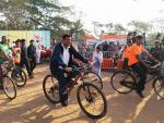 Hon'ble Union Minister of P&NG and SD&E participating in Saksham Cyclothon event organized by PCRA at Kalinga stadium, Bhubaneshwar on 4th Feb'18