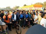 ,Hon'ble Union Minister of P&NG and SD&E participating in Saksham Cyclothon event organized by PCRA at Kalinga stadium, Bhubaneshwar on 4th Feb'18