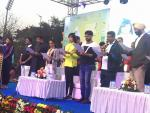 Hon'ble Union Minister of P&NG and SD&E taking the pledge to conserve fuel and minimize the use of petroleum resources at Saksham Cyclothon event organized by PCRA at Kalinga stadium, Bhubaneshwar on 4th Feb'18