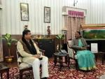 Union Minister of P&NG and SD&E called on Hon'ble Governor of Jharkhand at Rajbhawan, Ranchi and and discussed several developmental issues pertaining to Jharkhand on 12th Jan'18