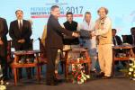 Union Minister of P&NG and SD&E  witnessing the signing of MoU between Indian Oil Corporation and ICT at the Petrochemical Investors Conclave, Bhubaneswar on 16th Nov'17.  MoU was for setting up an ICT campus in Bhubaneswar
