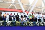Union Minister of P&NG and SD&E Sh Dharmendra Pradhan and Sh Manoj Tiwari MP LS with the winners of Elite Ride for Men at PedalDelhi 2017, a PCRA and MoPNG initiative to motivate people for fuel conservation. At JLN Stadium, New Delhi on 5th Nov'17