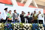Conservation pledge administration by Union Minister of P&NG and SD&E Sh Dharmendra Pradhan along with Sh Udit Raj MP LS and Sh Manoj Tiwari MP LS during PedalDelhi 2017, a PCRA and MoPNG initiative to motivate people for fuel conservation. At JLN Stadium, New Delhi on 5th Nov'17