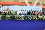 Union Minister of P&NG and SD&E with other dignitaries during the flagging off of Green Ride at PedalDelhi 2017, a PCRA and MoPNG initiative to motivate people for fuel conservation. At JLN Stadium, New Delhi on 5th Nov'17