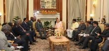 Hon'ble MoS(I/C) PNG attending the meeting between the Hon'ble Prime Minister of India and the President of Sudan at New Delhi on 30th Oct'15.