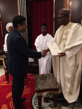 Hon'ble MoS(I/C) PNG handing over personal letter of Hon'ble PM to H.E. President Buhari of Nigeria on 29th May'15 inviting him to visit India to attend 3rd India-Africa Forum Summit