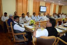 Hon'ble MoS(I/C) PNG reviewing progress of skill development initiatives and centre in Bhubaneswar with the Hon'ble Minister of State for Skill Development at New Delhi on 30th Apr'15.