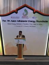 Union Minister of P&NG and SD&E delivered the welcome remarks at 7th Asian Ministerial Energy Roundtable of IEF at Bangkok on 1st Nov'17. Around 20 Ministerial delegates from Asia are participating in the event.